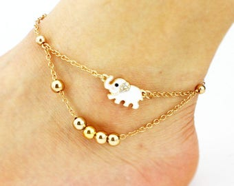 gold elephant anklet, gold plated anklet, women anklet, beach anklet, gold chain anklet, foot ankle bracelet, barefoot anklet, foot jewelry