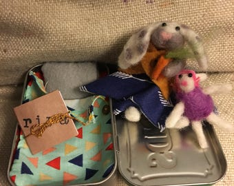 Custom Tiny felted friend with accessories all fitting inside an altoids tin