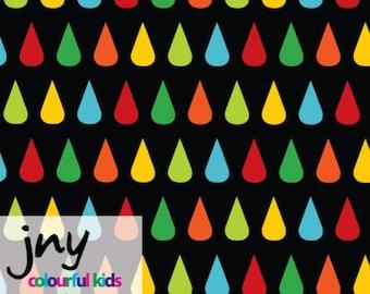 NEW!  Organic jersey fabric, raindrops, drops, organic fabric, jny , 1/4  metre units