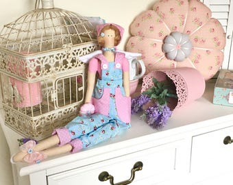 Tilda doll, blue tilda doll, tilda doll, tilda doll angel, tilda doll gardener, fabric doll, gift for girls, gift for her, home decor