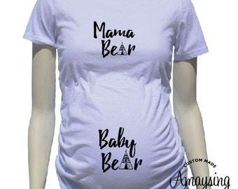 Maternity Shirts - Mama Bear and Baby Bear Maternity Shirt - Baby Bump T Shirts - Cute Baby Bump Shirt -Pregnancy - Pregnancy Shirts