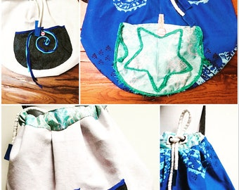 Maritime reversible bags, beach bag, shopper