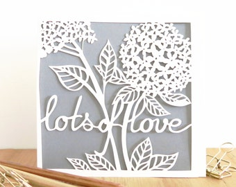 Lots of Love papercut card, Valentine card, Luxury anniversary card, Wedding papercut card, Card for wife, Card for girlfriend, Floral card