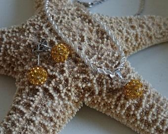 Shamballa Crystal Topaz set earrings & necklace, jewelry set, rhinestone