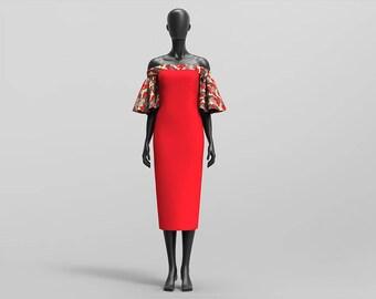 Custom Off Shoulder Ruffle Sleeved Midi Dress ( African Print / Kente Print/Bridal Satin )