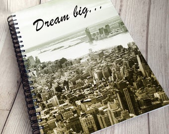 A5 new york Teacher personalised Inspirational dream big planner, custom teaching assistant journal, gift for academics or student study,