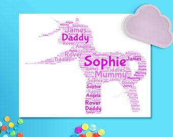 Unicorn word cloud personalised, printable nursery wall art, unicorn word art pinks or blues, girls room unicorn print, digital download