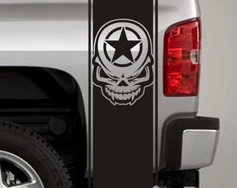 Truck Bed Stripe Decals - Army Star Tribal Skull Stickers - Universal Fit (Pair x2)