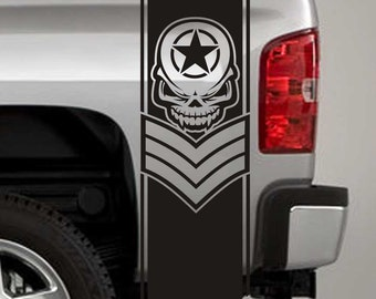 Truck Bed Stripe Decals - Army Star Skull Chevron Stickers - Universal Fit (Pair x2)