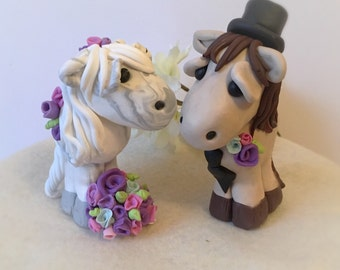 Horse Bride and Groom Clay Wedding Cake Topper Keepsake