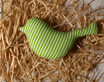 Bird made of green white striped cotton fabric for the Easter bouquet