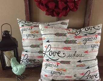 Love Where You're Going Decorative Pillows-Arrows-Inspirational-Mint Green-Coral-Home Decor