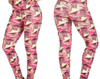 Pink Printed Leggings Geometric Print Leggings Pink Leggings Yoga Leggings Womens Leggings Cotton Leggings Floral Legging FREE U.S. SHIPPING