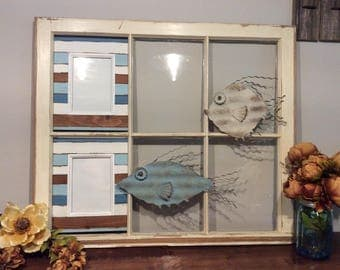Repurposed Old Window Frame With Nautical Design,Reclaimed Old Window Frame,Nautical Home Decor,Rustic Home Decor,Fish,Picture Frame,
