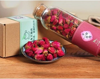 Dried Rose Buds in Glass Bottle