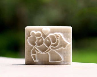 Kissing Lovers Resin Soap Stamp