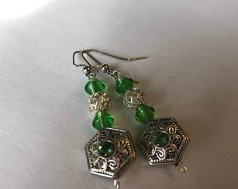Green & Silver Earrings