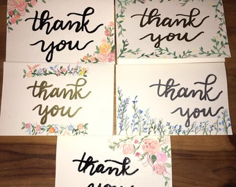 Hand Painted Floral Watercolor Thank You Cards - Set of 5