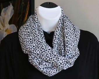 Black and White  Speckled Chiffon Infinity Scarf-Lightweight-fashion-circle-scarf, Women's scarf, Gifts for Her