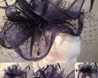 Navy Sinamay Fascinator, Wedding Hat, Races Headwear, Ladies Day, Navy Headpiece