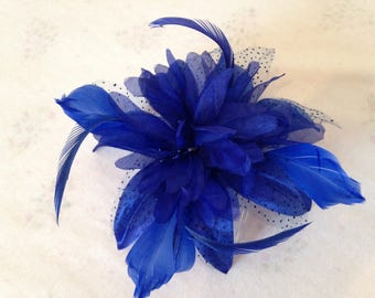 Royal Blue Feather Fascinator, decorative Comb , wedding fascinator, formal headband,  ladies day hair accessory, races fascinator