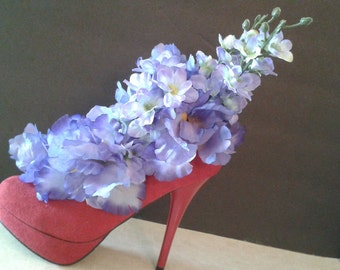 Silk Flower Arrangement in Red High Heel Shoe Purple Flowers