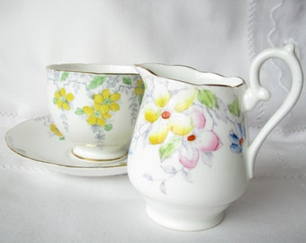 Royal York tea cup saucer creamer Gift tea set Yellow flower cup Yellow flower saucer Yellow flower creamer Mother gift Collectible gift her