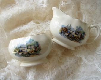 Sugar bowl Cream jug Tea ware Sandland ware Old world garden creamer open sugar bowl English tea English style old decor Tea party decor set