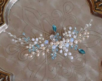Blue crystal hair vine - Wedding hair vine- Blue wedding headpiece - Bride hair vine - Wedding hair piece - Bridal headpiece -Something blue