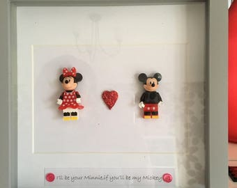Minnie and mickey frame art