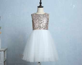 Ivory Lace Tulle Flower Girl Dress Rose Gold Sequin Wedding Junior Bridesmaid Party Dress Knee Length