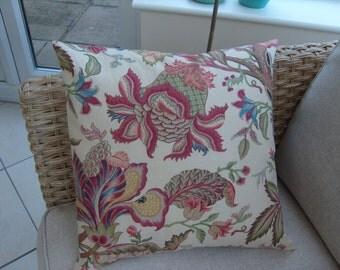"Cushion Cover Botanical/Floral Linen Furnishing Fabric 18"" Square Envelope Closure"