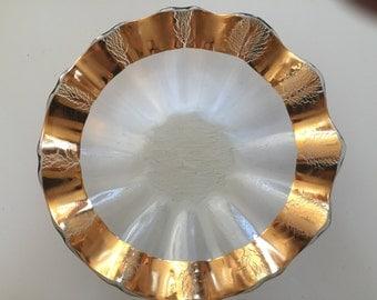 Annieglass Gold Ruffle Bowl