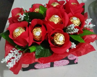 Chocolate- flower-floral-red-rose- bouquet-gift-wedding
