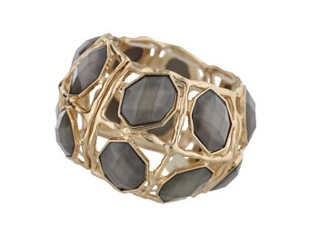 Charcoal Stone Stretch Bracelet