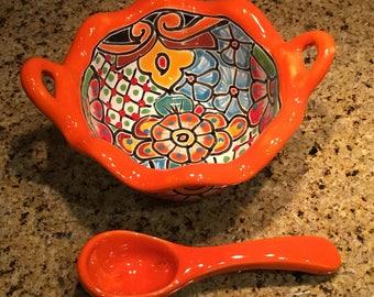 Talavera Sala Dish / Talavera Condiment Dish / Salsa Dish with Spoon / Salsa Bowl
