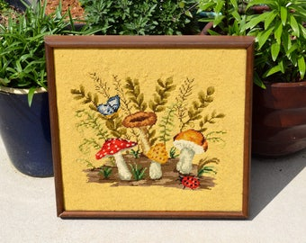 Vintage finished and framed forest floor needlepoint embroidery mushrooms butterfly ladybug