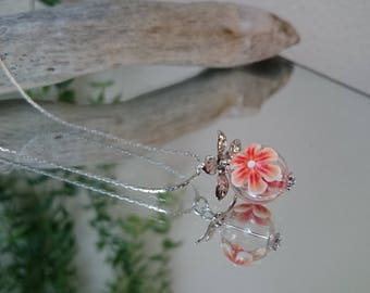 Necklace pendant bead glass flowers: Floribule Orange and white