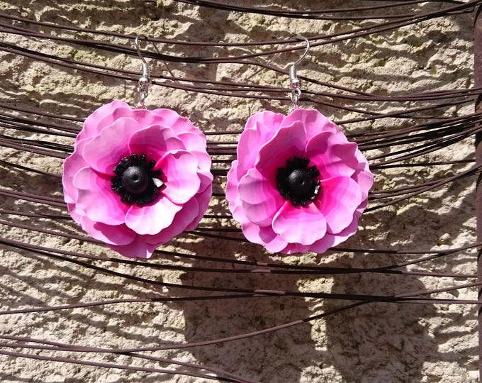 Earrings silver XL large flowers in polymer clay to the color of your choice, on primers. Mother's day and wedding