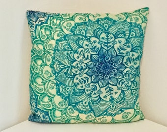 Cushion Cover, Floral Print Cushion, Blue & Green Pillow Cover