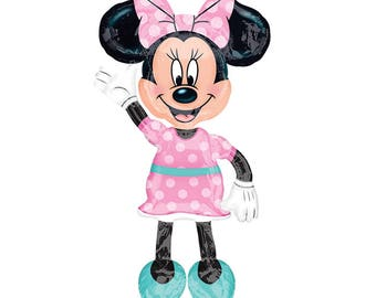 """SHIPS FAST - Minnie Airwalker 54"""" Minnie Mouse Birthday Balloon, Minnie 1st Birthday Party, Minnie Mouse Party, Minnie and Mickey Party"""