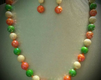Vintage orange green and  ivory  iridescent beads with matching earrings