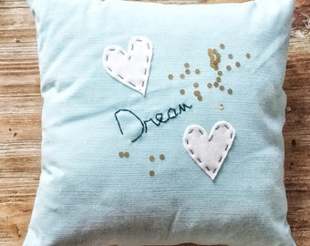 "Hand embroidered pillow ""Dream"""