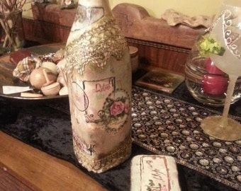 Decoupage Vintage Glass Bottle
