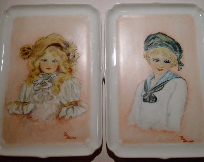 Limoges Artist Signed Portrait Trays by Giraud