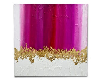 Pink - abstract mixed with crackle, tons of white, pink with gold leaves. UNIQUE and ORIGINAL painting - this is not a copy!