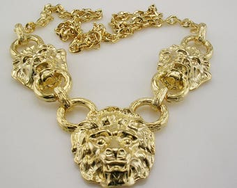 Kenneth Jay Lane  Lion Head Necklace  18""