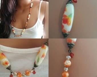Floral orange beaded necklace