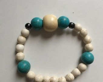 Women's Turquoise, White Turquoise and Hematite Bracelet
