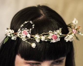 L A U R A    Silk Flower Crown Wreath
